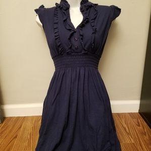 Navy blue ruffled dress size M